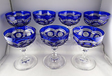 7 Val St Lambert VAS46 Champagne or Tall Sherbets Cobalt Blue Cut to Clear