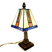 "Vintage Small Stained Glass Craftsman Style Table Lamp Night Light 10.5"" Tall"