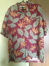 Tommy Bahama 100% Silk Red Button Down Shirt Green, Orange Floral Pattern SZ L