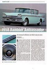 1958 RAMBLER AMBASSADOR  -  GREAT 6-PAGE ARTICLE / AD