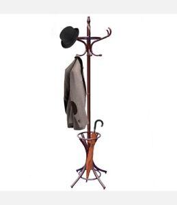 Ground Coat Rack Coat Hangers Umbrella Holder Thonet Wood Varnished Brown