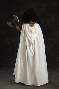 Cosplay SCA LARP Hooded Medieval Cloak One Size NEW 100% Cotton WHITE Beautiful