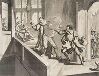 LUYKEN, Hist. Darst. Mord des Prinzen von Oranien, 1584 in Delft. 17. Jh., Kst