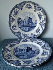 "Johnson Brothers ~ ""Old Britain Castles - Blue"" ~ 3 DINNER PLATES ~ Crown Stamp"