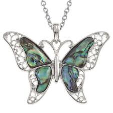 Butterfly Necklace Paua Abalone Shell Pendant Silver Fashion Jewellery