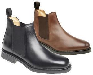 Mens Leather Roamers Flexible Fuller Fit Chelsea Dealer Ankle Boots Shoes Size