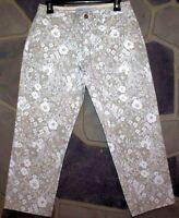 OLD NAVY Women's Size 4 Tan/White Floral Capri/Cropped Pants 4 Pocket EUC