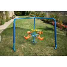 IRONKIDS Four-Station Fun Filled Metal Merry Go Round Playset Spin Set Outdoor