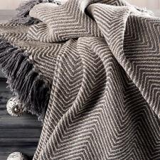 ⭐Herringbone Black Cotton Chevron Sofa Settee Bedspread Blanket Throw Fair Trade