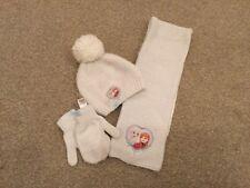 Girls M&S Frozen hat, scarf & gloves set - cream knit & fleece 2-3years