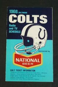 1966 Baltimore Colts & Pro Football Pocket Schedule National Beer Sponsor