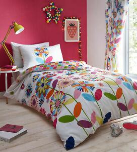 Candy Bloom Floral Bright Reversible Duvet Quilt Cover Bedding Set
