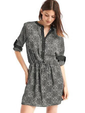 Gap Women's Holiday Black Mix Print Popover Shirt Dress Size XS X-Small NWT