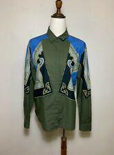 Dries Van Noten Blue Khaki Green Chinese Inspired Ethnic Print Shirt Blouse AU12