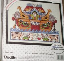 1993 Bucilla Noah's Ark Cross Stitch Sampler Pig Chicken Turtle Cat Sewing Kit