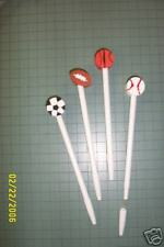 PERSONALIZED ballpoint pens with eraser tops BASKETBALL FOOTBALL BASEBALL SOCCER