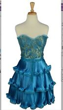 NEW Betsey Johnson RARE Bustier Dress Blue Gold Lace Evening Party Vintage 10 L.