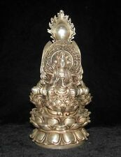 Chinese old Tibetan silver carved 3 buddha sitting lotus flower statue