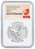 2020 Australia Silver Lunar Year of the MOUSE NGC MS 70 1/2oz Half Dollar Coin
