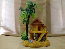 AQUARIUM FISH BOWL TANK  RESIN TIKI HUT CASTLE W PALM TREE DECORATION ORNAMENT