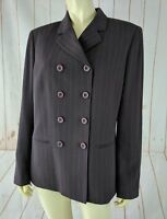 Kasper Blazer 10 Brown Taupe Pinstripe Double Breasted Poly Cupro Lined New
