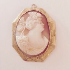 Antique Victorian 10k YELLOW 9.8G GOLD SHELL Carved Cameo Pin/Pendant Handcarved