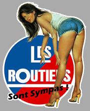 LES ROUTIERS SYMPAS PINUP SEXY CAMION TRUCK 20cmX16cm AUTOCOLLANT STICKER RA127