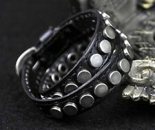 S368 Double Wrap Round Metal Studs Vintage Leather Bracelet Wristband Cuff BLACK