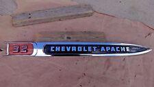 "1959 Chevy Truck ""CHEVROLET APACHE 32"" RIGHT FENDER EMBLEM MOLDING Original GM"