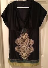 Lane Bryant Sz 16 Black Green Paisley V Neck Silky Polyester Tunic Blouse Top