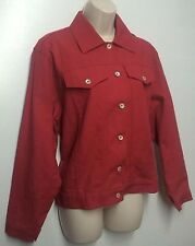 NORM THOMPSON Womens Trucker Jacket M Solid Red Long Sleeves 100% Cotton Trucker