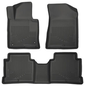 Husky Liners Front & 2nd Row Black Floor Liners For 2015-18 Sonata Optima