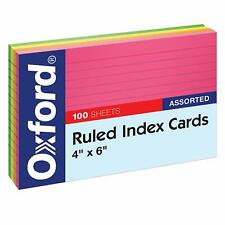Oxford Neon Index Cards 4 X 6 Ruled Assorted Colors For Notes 100 Pack