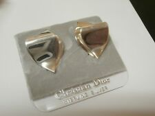 Christian Dior Signed  Clip Earrings Sterling Silver S925  Made In Germany