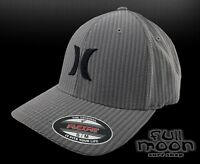 New Hurley Iconic Black Gray Suits Dry Fit Mens Flex Fit Cap Hat