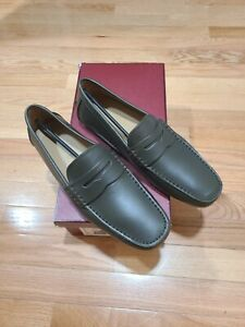 NIB Bally Men Warno Leather Driver Loafers Shoes Grey 9US made in Italy