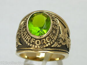 United States Air Force Military Peridot August Birthstone Men Ring Size 7-15