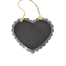 Scallop Chalkboard Heart with Rope, Gray, 15-3/4-Inch