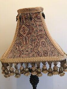 Jacquard Tapestry Braided & Beaded Trim Fringed Brocade Pom-Pom Lamp Shade
