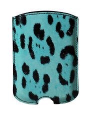Nuevo Dolce & Gabbana Funda de Teléfono Azul Diseño de Leopardo Cuero 11.5x8cm