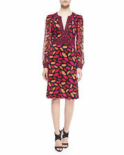 Diane von Furstenberg SZ 6 Leyla Mid Kiss Red Pink Silk Wrap Dress NWT $478