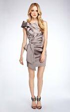 Tamaño 10 Karen Millen Vestido en gris taupe firma Satén-DP320 Rara