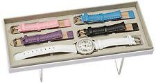 Edición especial invicta Ángel plata cristal 5 color cuero bandas Watch-21996
