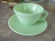 VINTAGE HAZEL ATLAS MODERNTONE GREEN TEA CUP AND SAUCER SET  ESTATE FIND