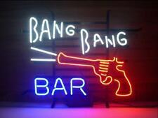 "New Bang Bang Bar Gun Neon Light Sign 24""x20"" Beer Cave Gift Lamp Bar Glass"