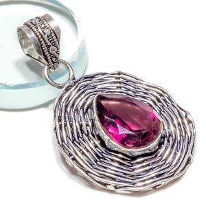 Amethyst Gemstone  Pendant 925 Sterling Silver Jewelry 2 Inch_419