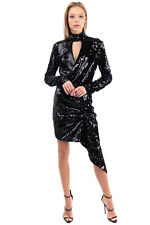 RRP€270 PINKO Asymmetric Hem Dress Size 44 / L Sequined Front Made in Italy