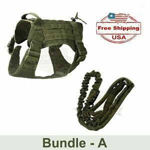 K9 Tactical-style Dog Harness and Leash, Army Green (Optional Fur Missile patch)