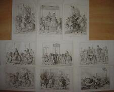 LOT de 9 gravures entrée de CHARLES V à BOLOGNE Bologna Militaires Pape Clément