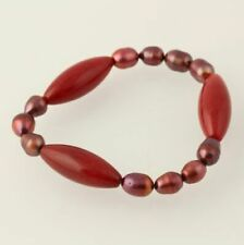 NEW Dyed Freshwater Pearls & dyed Quartzite Bracelet Beaded Stretch Band